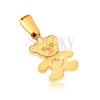 375 arany medál - csillogó, lapos medve szívecskével a hasán