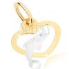 Kétszínű medál 9K aranyból - egyenletes szív körvonal, delfin