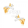 375 arany, ródiumozott fülbevaló - keresztezett, kétszínű agyarak, cirkóniák