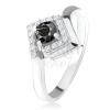 Ezüst 925 gyűrű, kerek fekete kő cirkóniás rombuszban