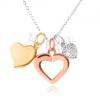 Ezüst 925 nyaklánc - lánc, három szívecske, arany, ezüst és bronz színben