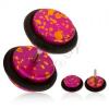 Akryl fake plug fülbe, fukszia színű alap, narancs foltokkal, gumicskák