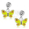 925 ezüst fülbevaló, átlátszó Swarovski kristály, sárga lepke