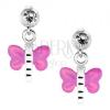 925 ezüst fülbevaló, átlátszó kristály, lepke lila-rózsaszín szárnyakkal