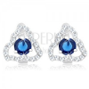 925 ezüst fülbevaló, átlátszó szabálytalan háromszög körvonal, kék cirkónia