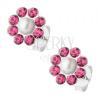 Fülbevaló 925 ezüstből, virág fehér gyönggyel, rózsaszín kristályok