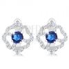 925 ezüst fülbevaló, virág - átlátszó cirkóniás szirmok, kék közép