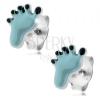 925 ezüst fülbevaló, lábacska világoskék és fekete fénymázzal