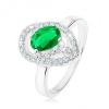 Gyűrű 925 ezüstből, ovális zöld cirónia, aszimmetrikus könnycsepp - körvonal