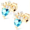 9K sárga színű arany fübevaló - kék szívecske topáz és csillogó korona dísszel