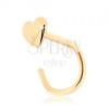 14K sárga arany hajlított orr piercing - kis lapos szívecske
