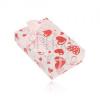 Fehér színű doboz fülbevalóra, gyűrűre vagy medálra, piros és rózsaszín szív mintával