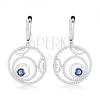 925 ezüst fülbevaló, csillogó körök, kék kerek cirkóniával