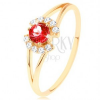 Gyűrű 9K sárga színű aranyból - kerek piros gránát átlátszó ívek között