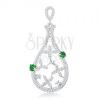 925 ezüst medál, könnycsepp körvonal átlátszó virágokkal és zöld cirkóniákkal díszítve