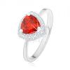 Gyűrű, 925 ezüst, lekerekített háromszög - narancssárga cirkónia, szűk szár