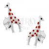925 ezüst fülbevaló, fényes fehér zsiráf piros pontokkal, stekker kapocs