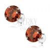 925 ezüst fülbevaló, kerek cirkónia narancs árnyalatban, 8 mm