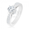 925 ezüst eljegyzési gyűrű, fénylő cirkónia, díszített foglalat és szárak