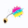 Köldökpiercing sebészeti acélból, színes szilikon sündisznó