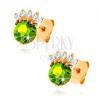 Bedugós fülbevaló 14K sárga aranyból - kerek olivin zöld színben, átlátszó korona
