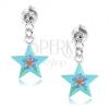 Beszúrós fülbevaló 925 ezüstből, fényes kék csillag, színes virág, kristály