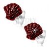 925 ezüst fülbevaló, piros fénymázas kagyló, bevágások a felszínen