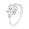 Eljegyzési gyűrű 925 ezüstből, csillogó négyzet, kis háromszögek