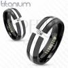 Fekete titán karikagyűrű, domború felszín, ezüst színű sáv, cirkónia, 6 mm