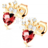 14K arany fülbevaló - szív alakú piros gránáttal, csillogó korona