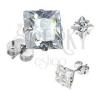 925 ezüst fülbevaló, csiszolt négyzetes átlátszó cirkónia, 9 mm