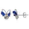 Fülbevaló ezüstből - kék repdeső pillangó cirkóniával