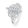 Ezüst színű gyűrű, függőleges cirkónia vonalak, hajlított gravírozott felület