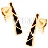 Fülbevaló 14K aranyból - szélesedő sáv, háromszögek fekete fénymázzal