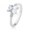 Eljegyzési gyűrű, 925 ezüst, nagy cirkóniás téglalap, kicsi trapézok
