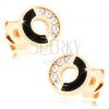 Fülbevaló 14K sárga aranyból - karika fekete és cirkóniás féllel