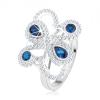 925 ezüst gyűrű, csillogó minta, sötétkék cirkóniák