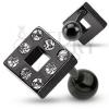 Fülporc piercing - fekete négyzet, beágyazott cirkóniák