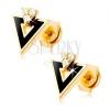 9K arany fülbevaló - fekete háromszög, átlátszó cirkóniák