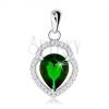 925 ezüst medál, egyenetlen könnycsepp körvonal, zöld cirkóniás könnycsepp