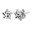 Fülbevaló 316L acélból, csillag körvonal - háromszögek, ezüst árnyalat