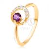 585 arany gyűrű - vékony cirkóniás félhold, ametiszt lila árnyalatban