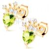 585 arany fülbevaló - zöld olivin szívecske, csillogó korona