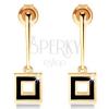 Fülbevaló 14K aranyból - szűk pálcika négyzet körvonallal, fekete fénymáz