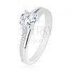 925 ezüst gyűrű, szétválasztott szárak csillogó rész, átlátszó cirkónia
