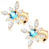 585 arany fülbevaló - virág átlátszó cirkóniából és kék topázból