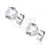 Bedugós ezüst fülbevaló - tiszta cirkonkő karmos fogatban, 6 mm