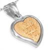 Acél medál - arany színű szív I love you felirattal ezüst keretben