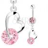 Acél köldökpiercing, ezüst szín, rózsaszín cirkónia, szívkörvonal