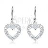 Függő fülbevaló 925 ezüstből - üres szív cirkonkövekkel díszítve